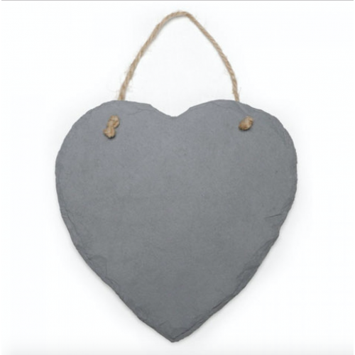 "Slate Heart Ornament with Jute Hanger - 9"" L x 9"" W - $6.00"