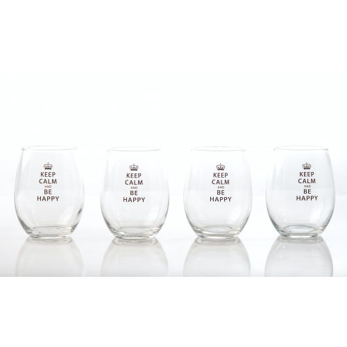 Keep Calm and Be Happy Glassware (Set of 4) - Only 2 left in stock - $20.00