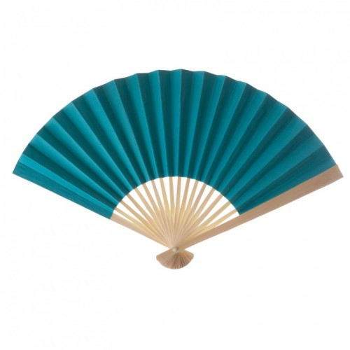 Paper Fan Turquoise (Set of 10) - $16.00